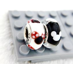 2pc Pandora Silver 925 Disney Minnie Mickey Murano Charm Bea