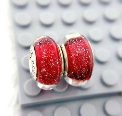 2pc Pandora Silver Murano Charm Disney Snow White Red Shimme