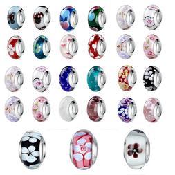 2pcs Design 925 Silver European Murano Glass Beads Charm fit