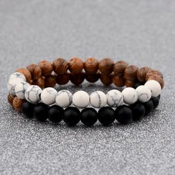 2Pcs/Set Couples Bracelet for  Women Men 8mm Wood Beads Yoga