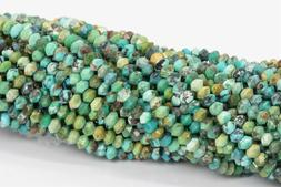2x1MM Genuine Natural Green Turquoise Beads AAA Faceted Rond