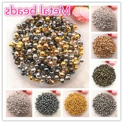 3/4/5/6/8mm Gold/SilverMetal Beads Smooth Ball Spacer Beads