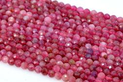 3-4MM Genuine Natural Pink Tourmaline Beads Brazil AAA Facet
