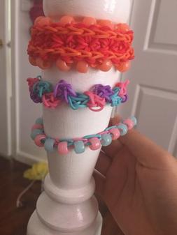 3 Rainbow loom bracelets 1 beaded starburst 1 beaded single
