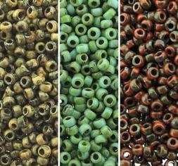 Miyuki 3 Color Picasso Seed Beads Set, Size 15/0 Seafoam, 8.
