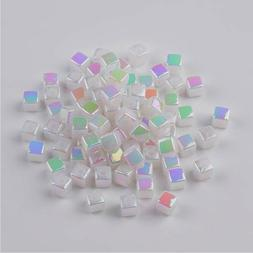 🎀 3 FOR 2 🎀 100 Opaque Iridescent Acrylic Cube 4mm Spa