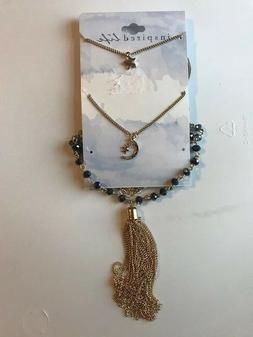 INSPIRED LIFE 3 In 1 Gold Chain/ Fringe, Blue Beads, Moon &