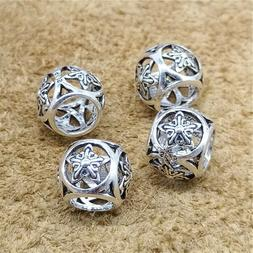 3 of 925 Sterling Silver Large Hole Pentagram Star Beads for