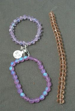 3 STRINGS OF BEADS - 25 CRYSTAL PINK, 25 IRIDESCENT PURPLE,