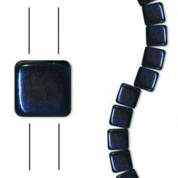 30 BLUE IRIS  6mm 2-Hole tile Czech Glass pressed glass bead