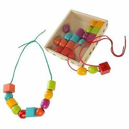 30 Pc Wooden Bead Lacing Toddler Jewelry Toy Kids Beads Stri