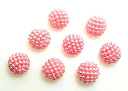 30 Pink 14mm Round Pearls Pearl Raspberry Cluster Beaded Acr