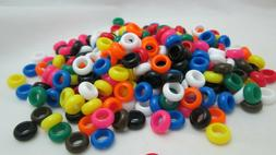 300 - 11x5mm Plastic Narrow Round Large Hole Beads - Assorte