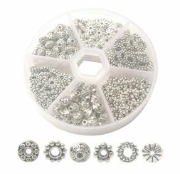 300 Antiqued Silver Metal Daisy Spacer Beads for Jewelry Mak