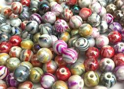 300 pcs 8mm Multi Color Marble Beads Round Bead Jewelry Maki