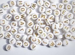 300 White and Gold Alphabet Letter Beads Acrylic Letter Roun