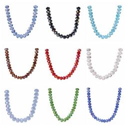 300Pcs 6mm Glass Crystal Faceted Rondelle Spacer Loose Beads