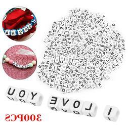 300Pcs Acrylic Alphabet Letter Cube Pony Beads 6mm for Jewel