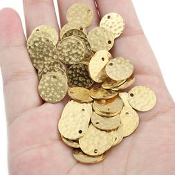 30Pcs Raw Brass Hammered Round Circle Coin Beads Charms Pend