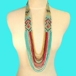 "34"" Waterfall Turquoise Coral Multi Strand Handmade Seed Bea"