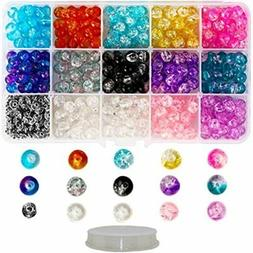 350 Crackle Glass Beads For Jewelry Making Adults, 8mm Kit W