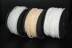 3mm/4mm/5mm Fused Pearl Beads String Faux White, Ivory, Clea