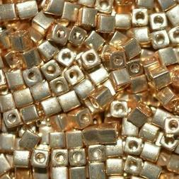 Miyuki 3mm Cube Beads - Galvanized Gold