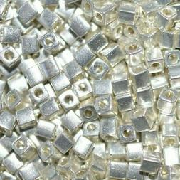 Miyuki 3mm Cube Beads - Galvanized Silver