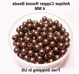 4 MM Antique Copper Round Hollow Beads Hole 1.0 MM