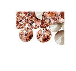 4 Rose Peach Swarovski Crystal Foiled 1122 Rivoli Stone Bead