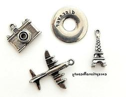 4 Travel Themed Silver Bead Drop Charms Airplane Camera Eiff