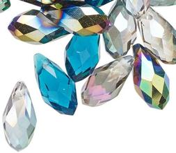 40 OCEAN MIX Glass Crystal Faceted Briolette 12x6mm Teardrop