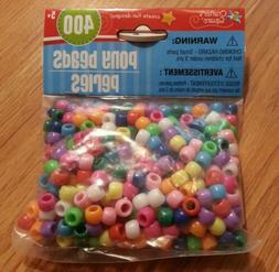 400ct Plastic Multicolored Pony Beads ~Crafts/Bracelets/Neck