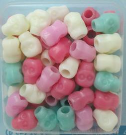 Little Makers 45 grams 12mm Plastic Skull Pony Beads - Cream