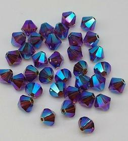 48pc Swarovski Crystal Amethyst AB2X 6mm Bicone 5328 Beads;