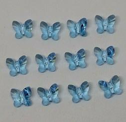 12pc Swarovski Crystal Aquamarine 6mm Butterfly 5754 Beads;
