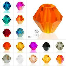 4mm 6mm 8mm Bicone CZ Glass Crystal Beads For Jewelry Making