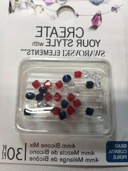 Swarovski Crystal 4mm Bicone Beads - 30 Pieces - RED WHITE B