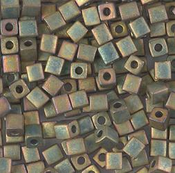 4mm cube beads matte metallic khaki iris