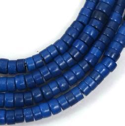 "4mm Turquoise Heishi Rondelle Beads 16""  -  Cobalt / Indigo"