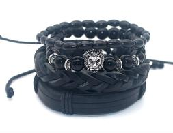 4Pc Men Leather Bracelet Set Lion Set Black Out Bamboo Brace