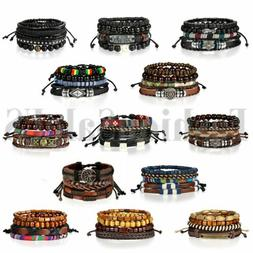 4pcs Leather Lots Bracelets for Men Women Wooden Beaded Bang