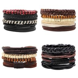 4Pcs Men Women Black Braided Leather Bracelet Wood Beaded Wr