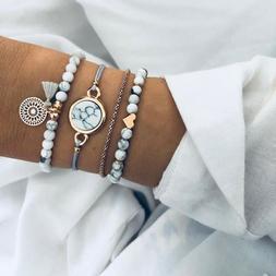 4Pcs Trendy Marble Beads Tassel Handmade Bohemian Charm Brac