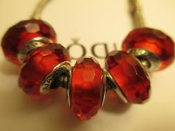 5 Pandora Silver 925 Ale Fascinating Red Murano Glass Beads