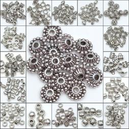 50/100pcs Wholesale  Silver Plated Loose Spacer Beads Charms