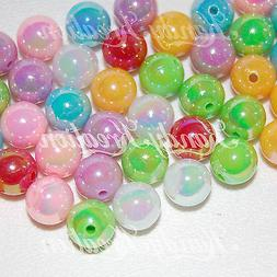 50 10mm Rainbow Mix Acrylic Round Pearl Spacer Beads for gum
