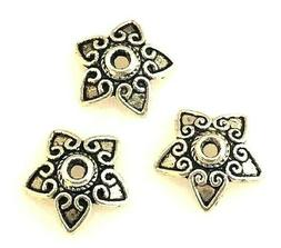50 Antiqued Tibetan Silver 12mm Stith Star Heart Flower Cap