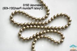 100 Beads Swarovski #5810 Crystal Platinum Pearl 001-459