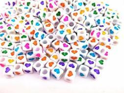 50 Bulk Heart Cube Beads Assorted Colors Acrylic Wholesale B